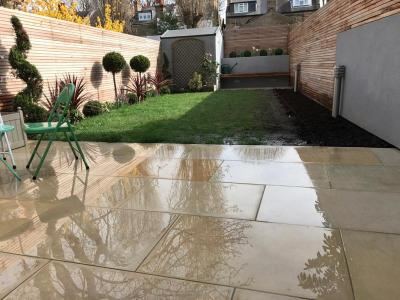 London,Chiswick-stone cleaning & flower bed preparation